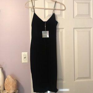 Black velvet midi dress